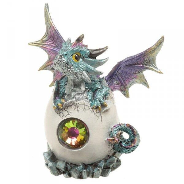 figurka w stylu fantasy - Smocze Jajo z Kryształem i Niebieskie Smoczątko