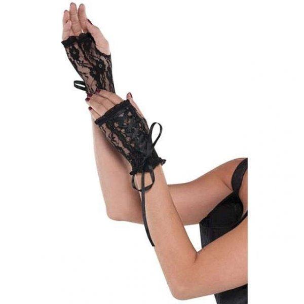 rękawiczki bez palców, z czarnej koronki - mitenki koronkowe