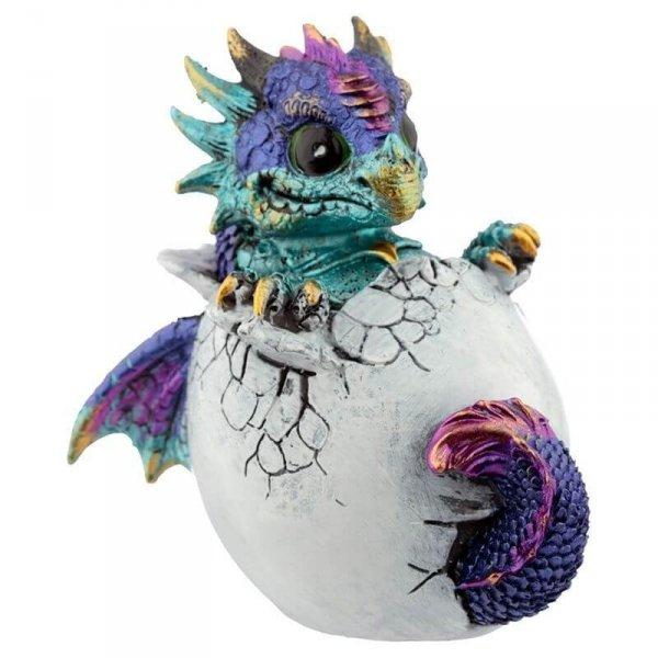 mały niebieski smok wykluwający się z jaja - Smocze Jajo figurka dekoracyjna