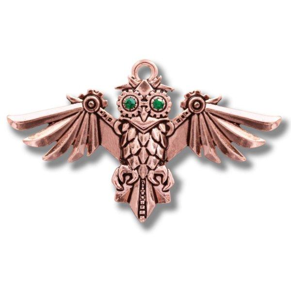 """naszyjnik mechaniczna sowa steampunk """"Aviamore Owl"""" seria Enineerium by Anne Stokes wisiorek"""