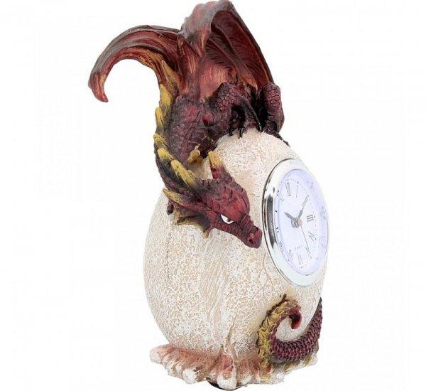 zegar stojący - czerwony Smok siedzący na jaju