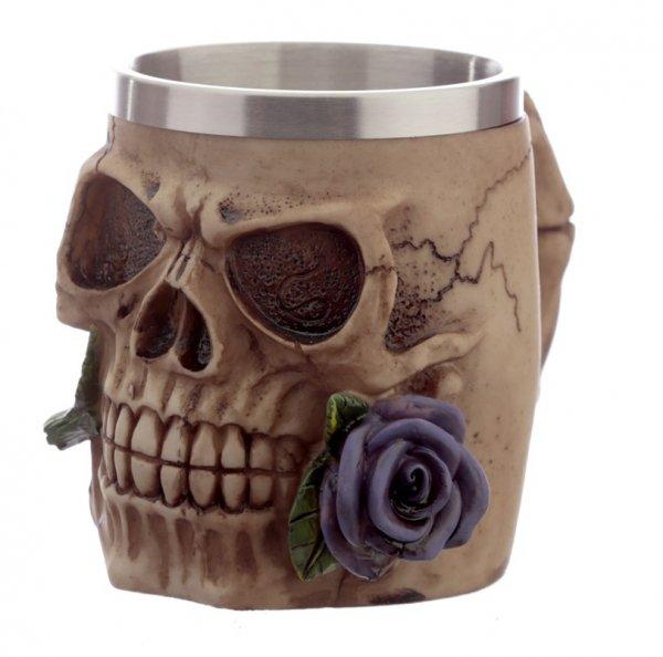 Czaszka z Fioletową Różą w zębach - dekoracyjny kufel do piwa