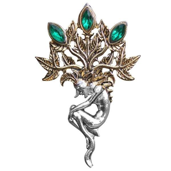 broszka Mandragora - Alrauna, magiczny korzeń, talizman szczęścia, bogactwa i dostatku