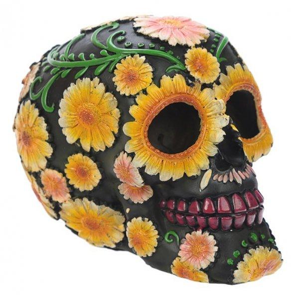 figurka - czarna Czaszka ozdobiona kwiatami - LunaMarket