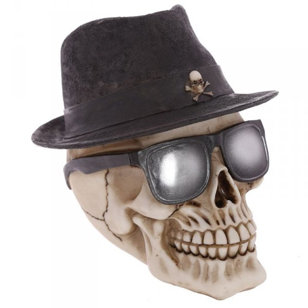 Czaszka w Kapeluszu i ciemnych okularach - figurka dekoracyjna