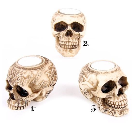 świecznik w kształcie czaszki - gadżety i prezenty z czaszkami