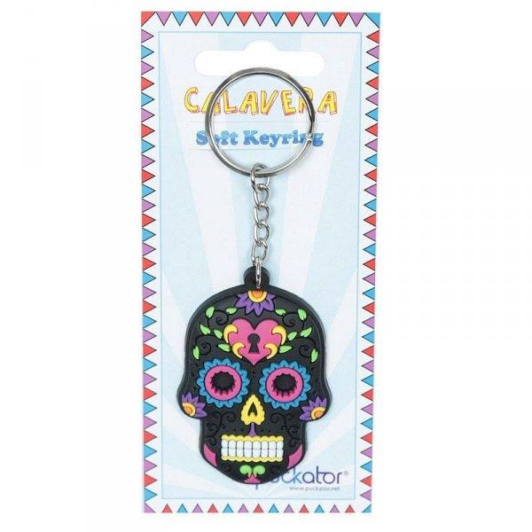 breloczek do kluczy - Meksykańska Czaszka Calavera Czarna