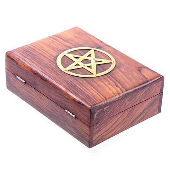 szkatułka drewniana sheesham z pentagramem - pudełko na karty tarota, na biżuterię