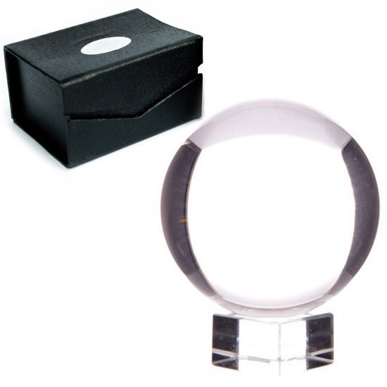 kryształowa kula szklana do wróżenia, rozmiar 8cm, z podstawką