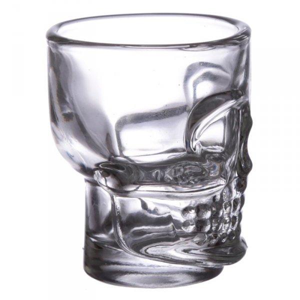 komplet 2 kieliszki szklane w kształcie czaszek