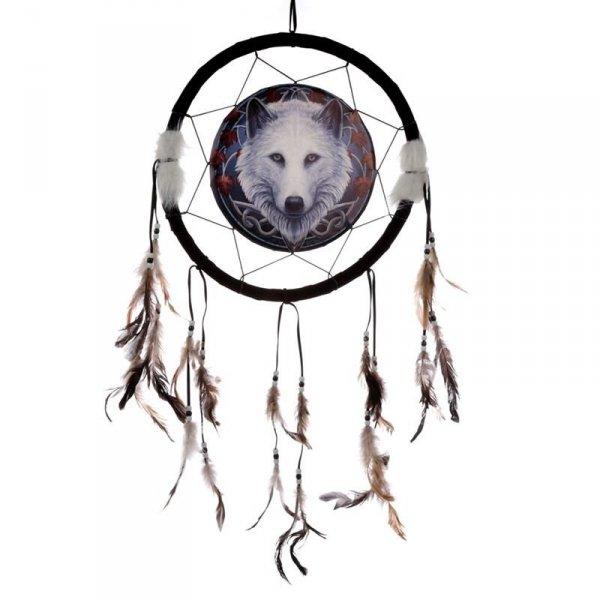 """Biały Wilk """"Jesienny Opiekun"""" indiański łapacz snów z obrazkiem Lisy Parker"""