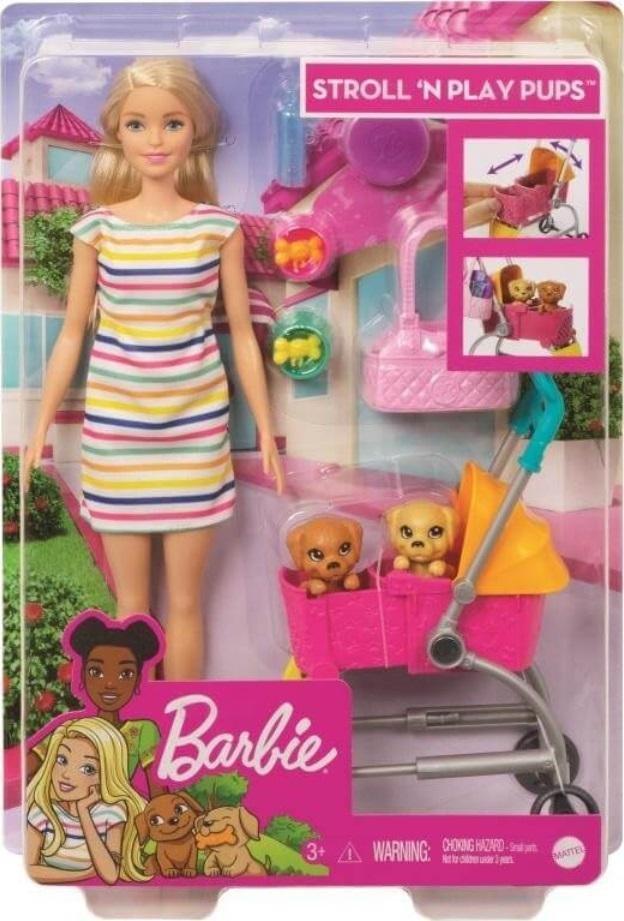Barbie Lalka + spacerówka z pieskami