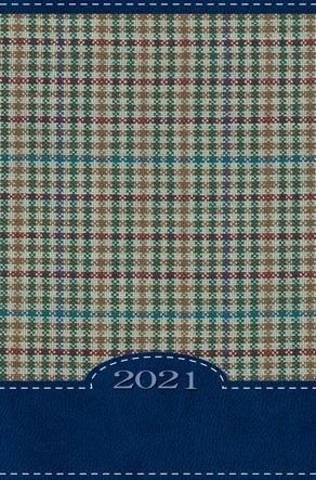 Terminarz 2021 B7 Mały Kolorowy Kratka niebieska