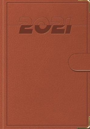 Terminarz 2021 B7 Lux z zapinką brązowy