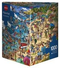 Puzzle 1000 Szalona zabawa na plaży Puzzle+plakat