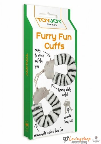 Kajdanki-FURRY FUN CUFFS ZEBRA PLUSH