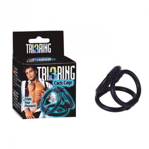 Pierścień-TRI RING COCK CAGE BLACK