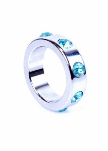 Pierścień-Metal Cock Ring with Light Blue Diamonds Medium