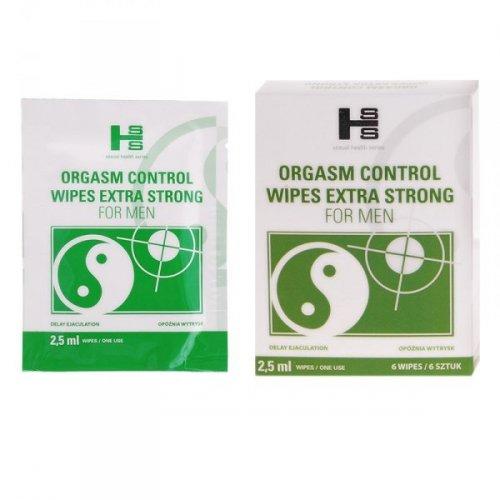 Orgasm Control Wipes - 6  CHUSTECZEK NAWILŻONNYCH OPÓŹNIACZEM ORGAZMU