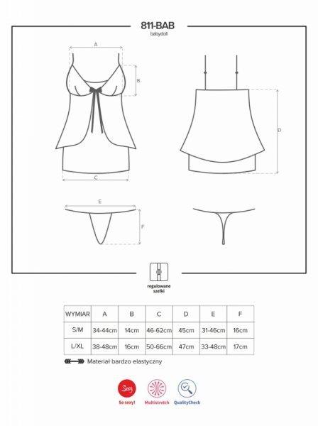 Bielizna-811-BAB-4 babydoll i stringi L/XL