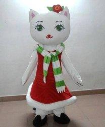 Strój chodzącej maskotki - Bożonarodzeniowa Kotka