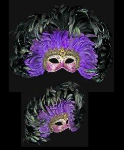 Maska wenecka - Colombina Grand Moulin Black/Purple