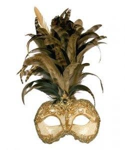 Maska wenecka - Colombina Strucco Piume IV