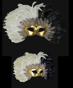 Maska wenecka - Colombina Piume Reale Black/White