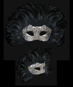 Maska wenecka - Colombina Piume Reale Macramè Silver Black