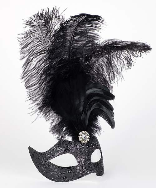 Maska wenecka - Colombina Piume Stella All Black