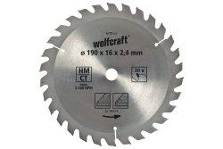 Wolfcraft Piła tarczowa 190x16mm HM 30 z. dokładne cięcia