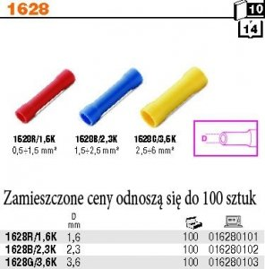 Beta 1628R/1.6K Złącza kablowe rurkowe opak. 100 szt.