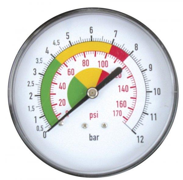 """ADLER Wskaźnik ciśnienia pistoletu MP-80 gwint tylny 1/4""""z 0÷12 bar"""