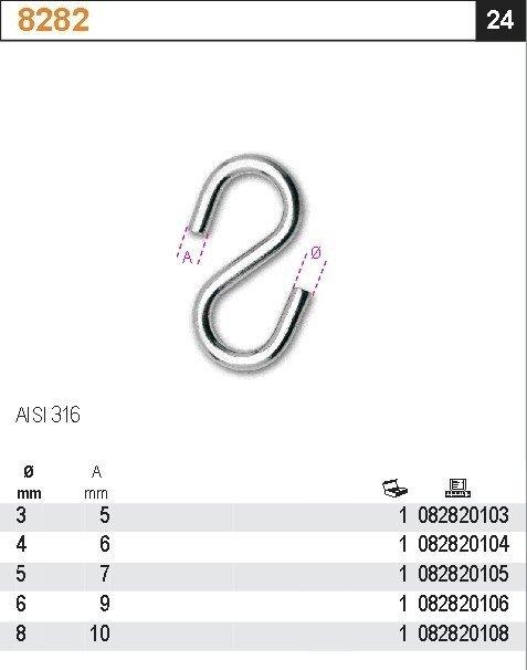 Robur 8282/5 Hak typu S 5mm AISI316