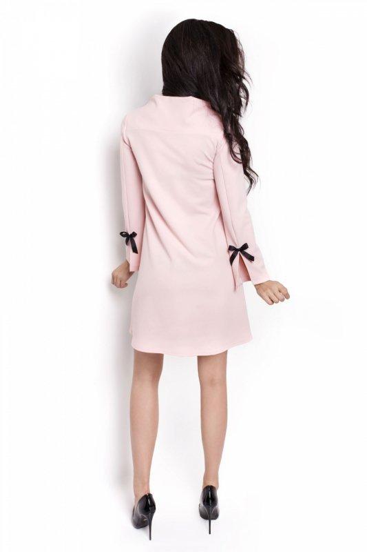 Trapezowa Sukienka Natalie - Pudrowy