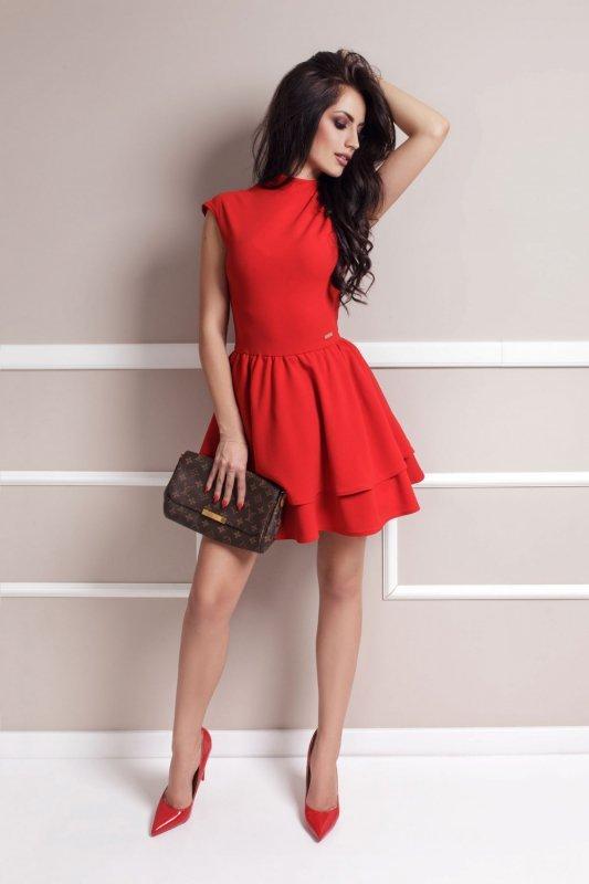 Rozkloszowana Sukienka Sandra - czerwony