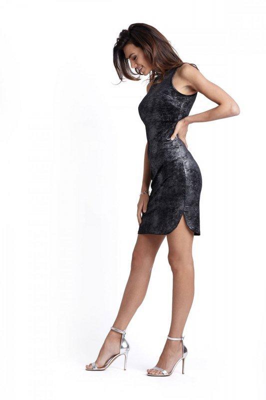 Połyskująca Welurowa Sukienka Kasandra - czarna