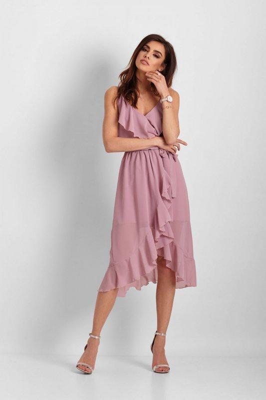 Szyfonowa asymetryczna sukienka Chantal - Róż