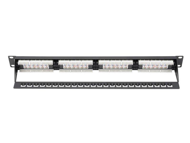 """Digitus Patch panel 19"""" 24 porty, kat.6, U/UTP, 1U, wspornik kablowy, czarny (kompletny)"""