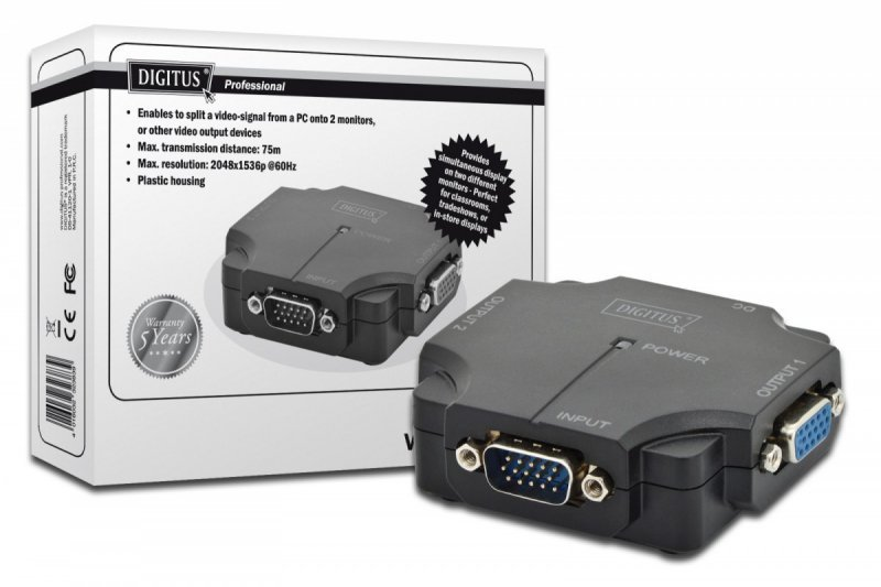 Digitus Mini Rozdzielacz/Splitter VGA 2-portowy, 350MHz 1080p 60Hz FHD
