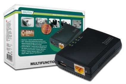 Digitus Wielofunkcyjny serwer wydruku/Print server 1xUSB 2.0 Hub sieciowy, NAS, 1x RJ45, LAN 10/100Mbps