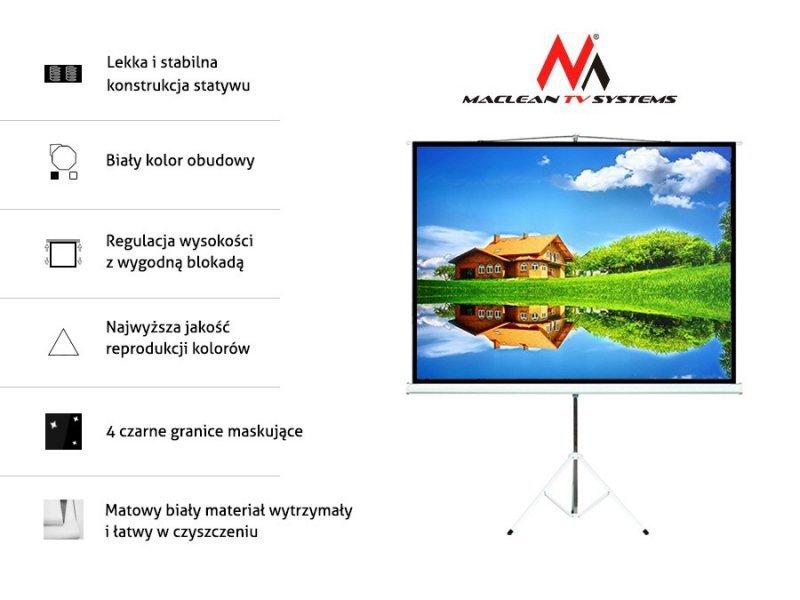 "Maclean Ekran projekcyjny MC-608 na stojaku 120"" 4:3 240x180"