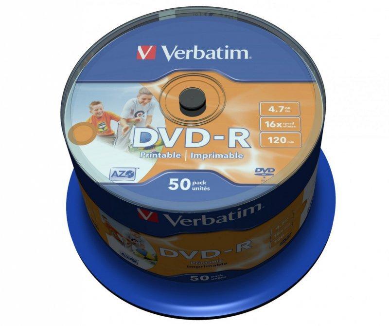Verbatim DVD-R 16x 4.7GB 50P CB PRINTABLE   43533