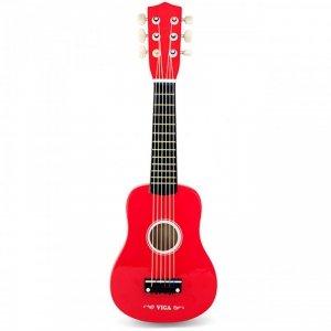 Viga Drewniana gitara dla dzieci Czerwona 21 cali 6 strun
