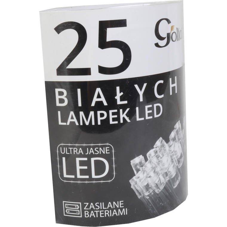 Lampki choinkowe BIAŁE OŚWIETLENIE LED BATERIA 25 SZTUK