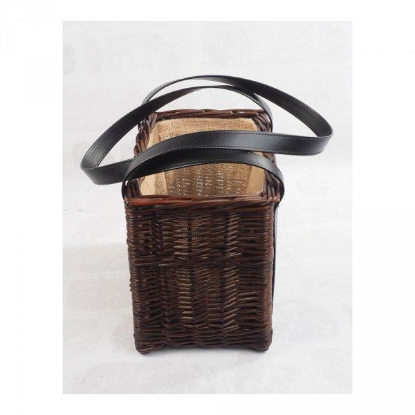 Torebka - kosz z obszyciem (wenge/czarne) - sklep z wiklina - zdjęcie 2