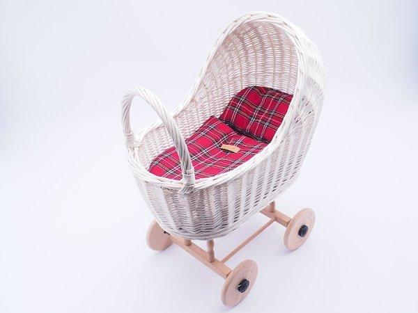 Wózek dla lalek biały (Klasyczny/Wzór) - Sklep z wiklina - zdjęcie