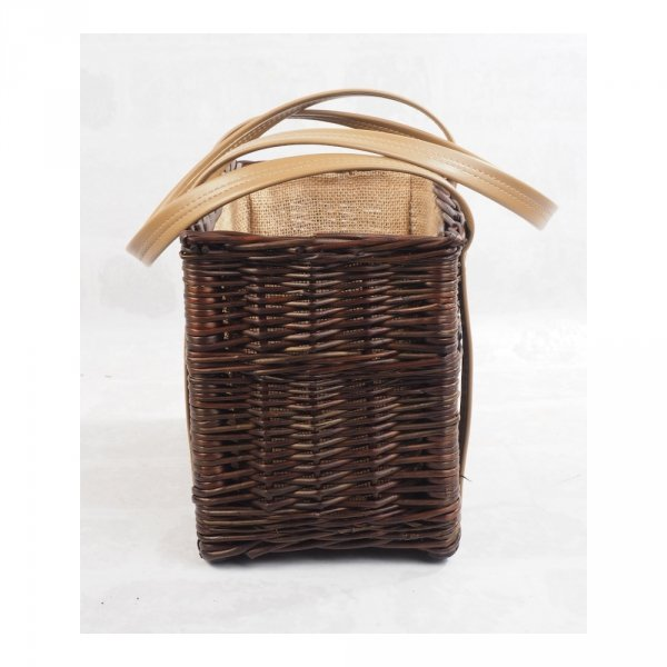 Torebka - kosz z obszyciem (wenge/karmelowe) - sklep z wiklina - zdjęcie 2