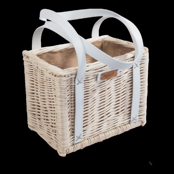 Torebka - kosz na zakupy z obszyciem (biała/białe) - sklep z wiklina - zdjęcie