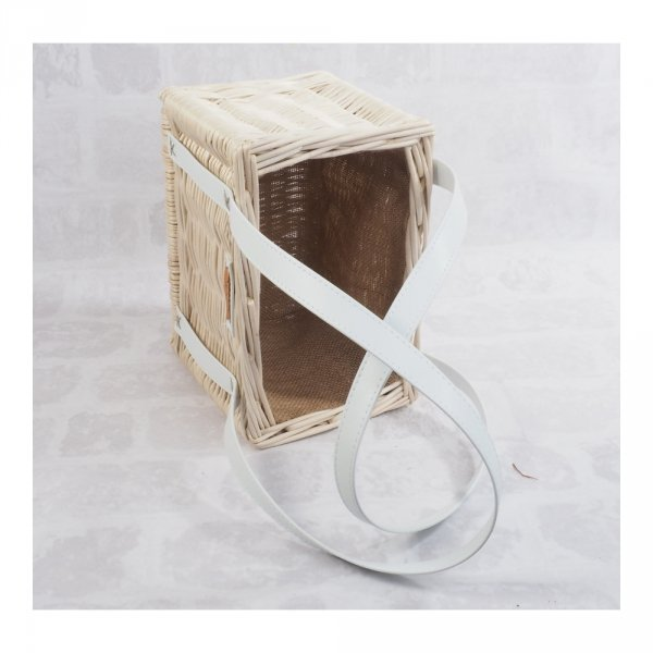 Torebka - kosz na zakupy z obszyciem (biała/białe) - sklep z wiklina - zdjęcie 2
